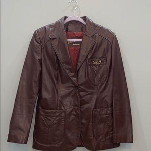 Etienne Aigner Vintage Leather Blazer Size 16